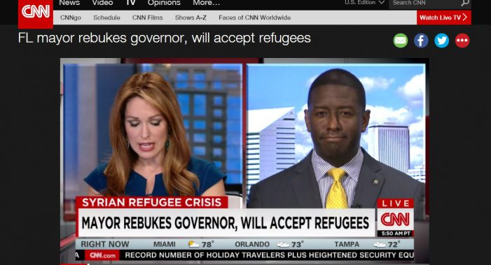 BREAKING NEWS: Mayor Gillum Appears Live on CNN, Takes Tallahassee National with Syrian Refugee Issue