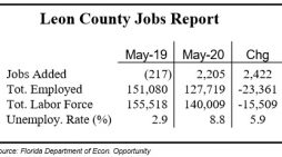 May Unemployment Rate Hits 8.8% in Leon County